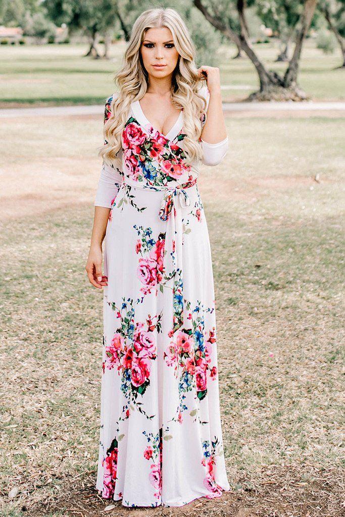 Pink Blooming Flower Print Wrap V Neck Boho Dress