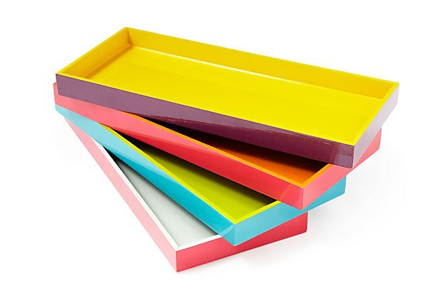 Colorful Wooden Tray / Three Hands