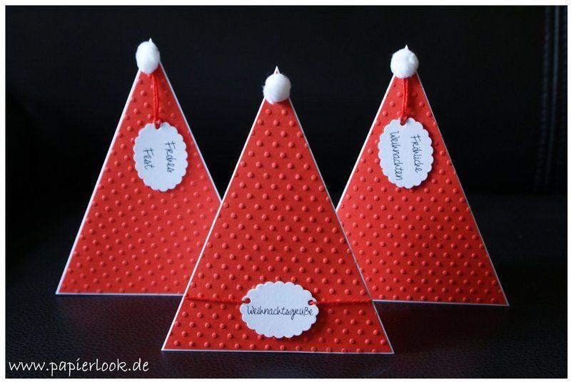 grußkarte+einladung+weihnachten+weihnachtsmütze+von+papierlook+auf, Einladungen
