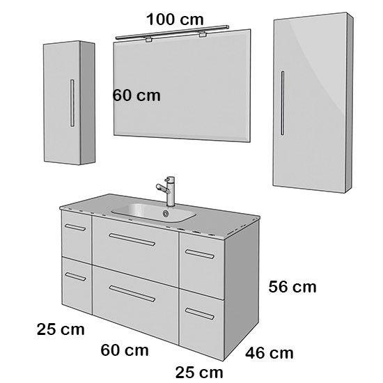 mueble de baño fussion chrome salgar suspendido 110 cm con lavabo ... - Medidas Muebles Bano