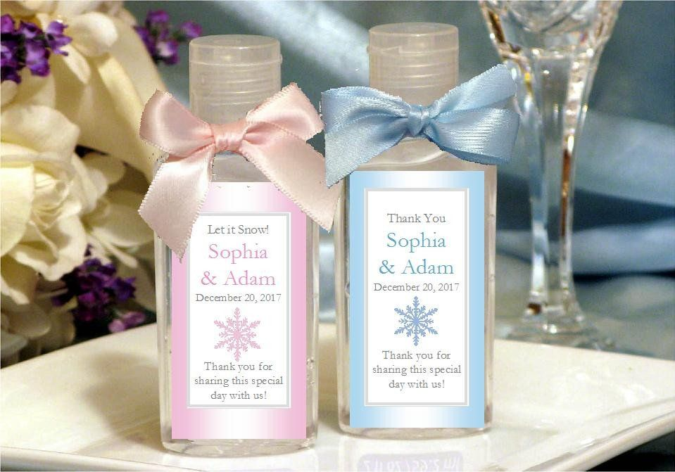 Winter Wedding Let It Snow Party Hand Sanitizers Favors Snow