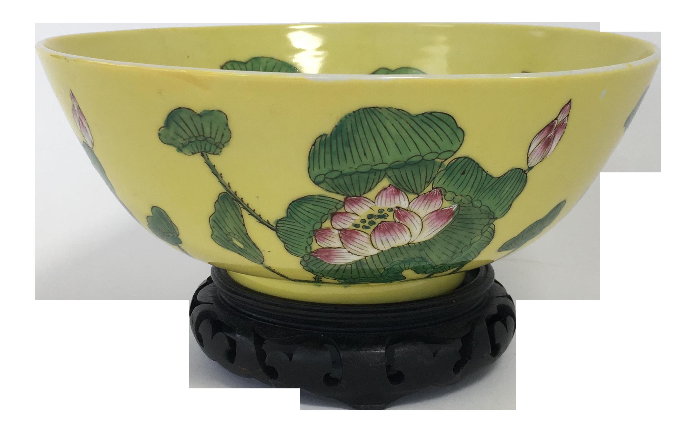 Yellow Chinese Lotus Bowl With Stand Lotus Bowls Bowl Vintage Yellow