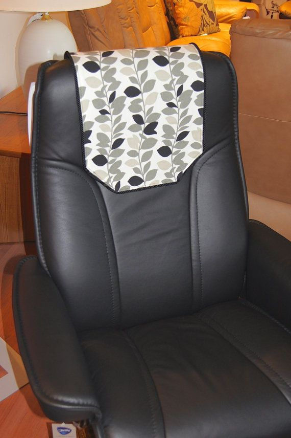 Recliner Chair Headrest Cover Black Gray Leaves By Chairflair Recliner Chair Chair Basement Design