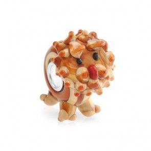 925 Silver Cute 3-D Lion Lampwork Glass Animal Bead Fits Pandora