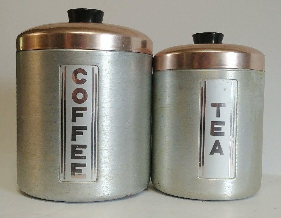 Vintage Kromex Maid Of Honor Copper Lid Aluminum Coffee Tea Canister Set Lot 2