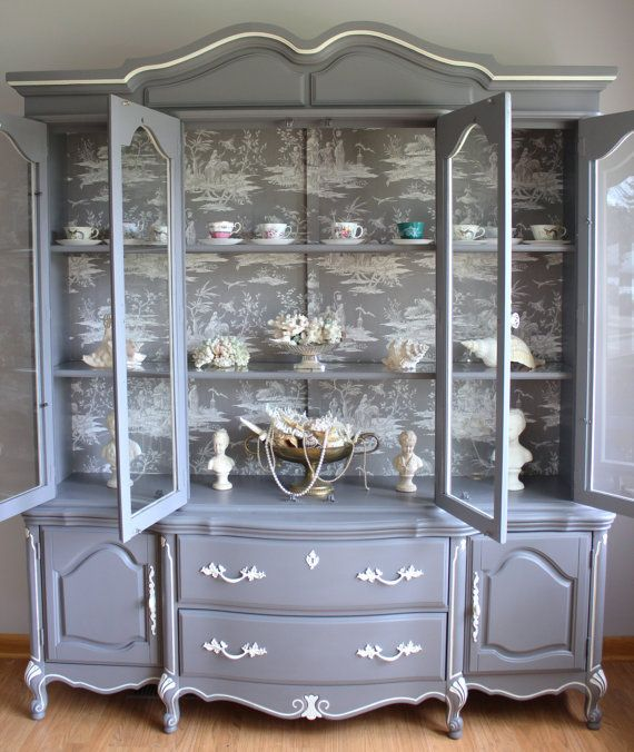 Grey China Cabinet French Provincial By Lavanttehome Chicago