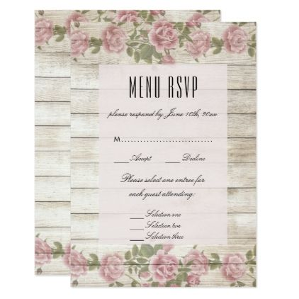 Rustic roses on wood wedding menu rsvp card wedding invitations rustic roses on wood wedding menu rsvp card wedding invitations cards custom invitation card design stopboris Gallery