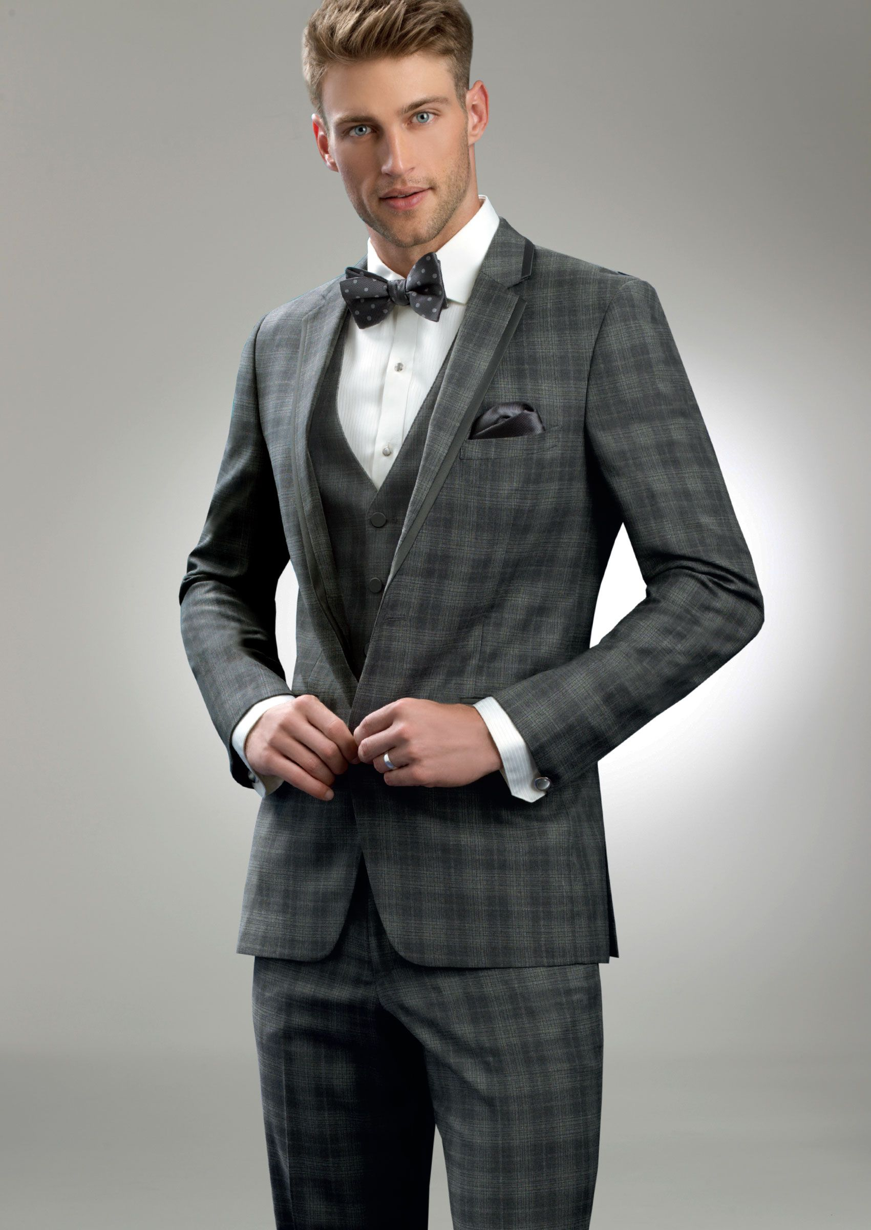 Grey Plaid Sterling Two Button Notch by Allure-Men - Tuxedos | MILAN ...