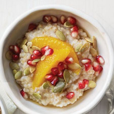 Steel-Cut Oats with Orange, Pomegranate Seeds, Pepitas, and Maple Syrup