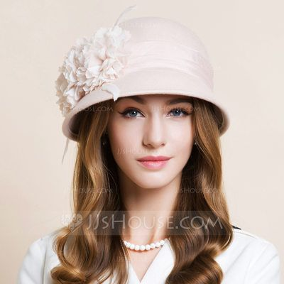 bc04e9193 US$ 38.99] Ladies' Beautiful Wool With Silk Flower Bowler/Cloche Hat ...