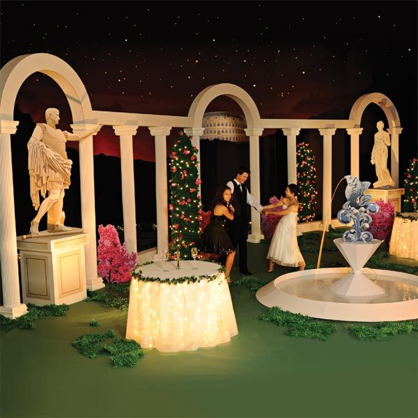Corinthian courtyard complete theme prom nite prom for Ancient greek decoration ideas