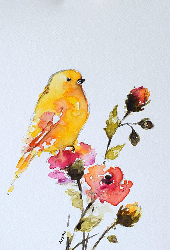 Original Watercolor Painting Pink Roses Watercolor Flowers