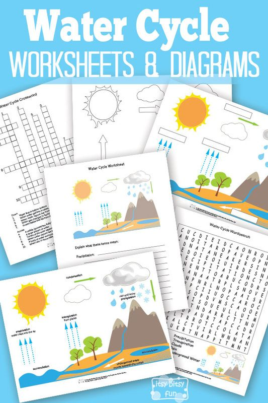 Free printable water cycle worksheets diagrams for kids activities science also rh pinterest