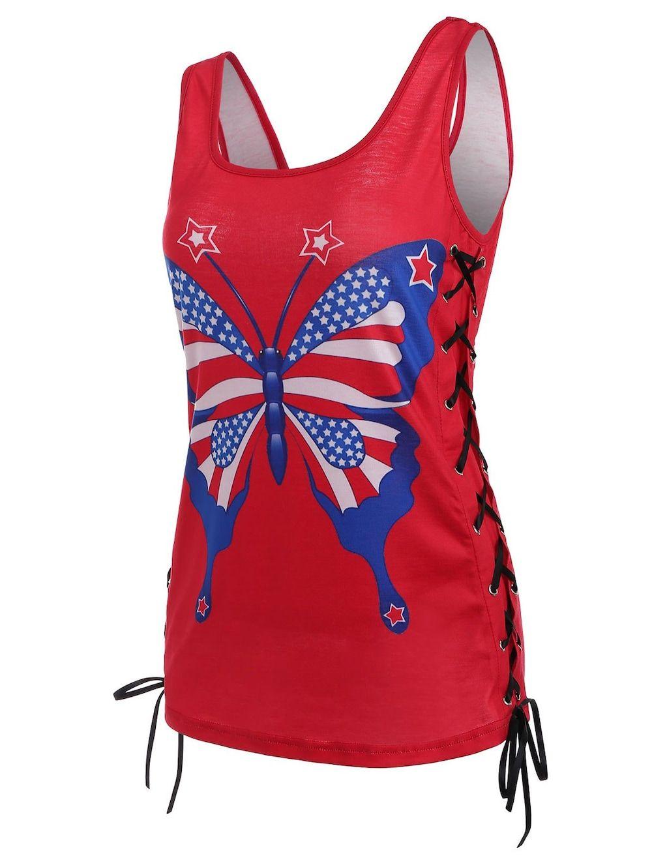 8d759e7382d1e American Flag Patriotic Lace-up Tank Top - Red - 2xl