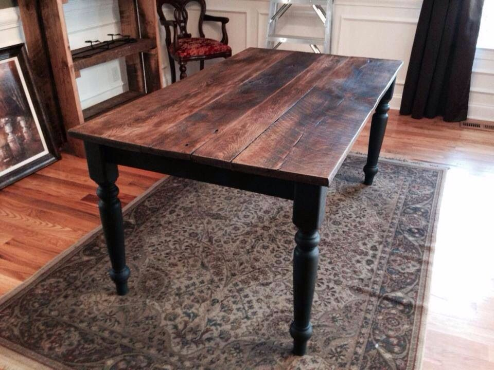 Handcrafted Reclaimed Barn Wood Table with wrought iron black