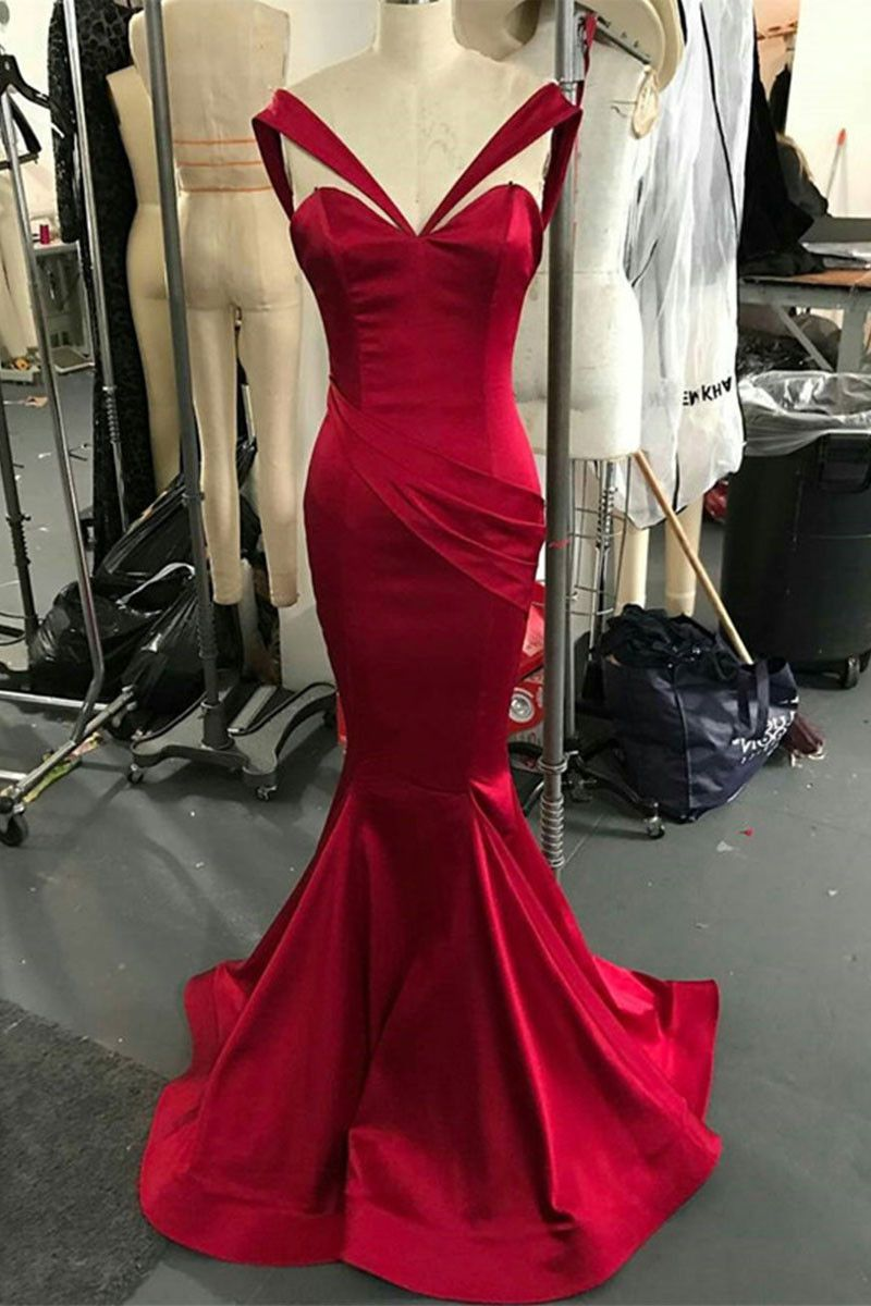Simple sweetheart neck mermaid long prom dress mermaid evening