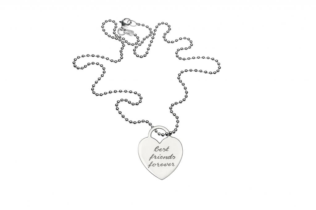 Luxusweiberl Silberkette mit Herzanhänger best friends forever