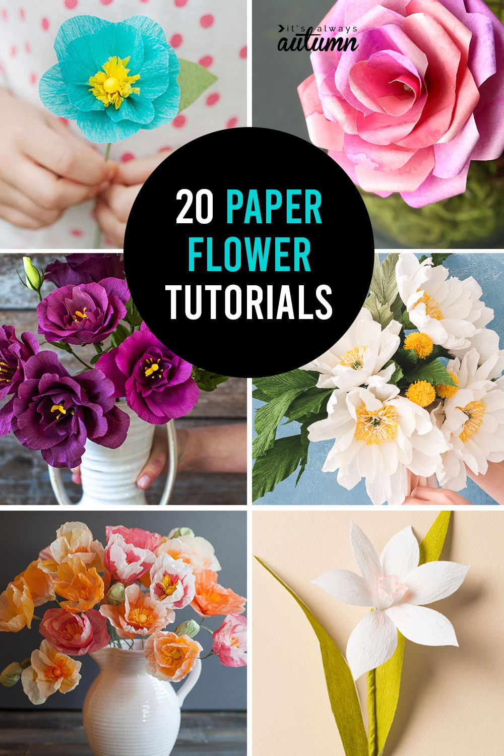 How to make paper flowers - 20 gorgeous DIY paper flower tutorials #paperflowers
