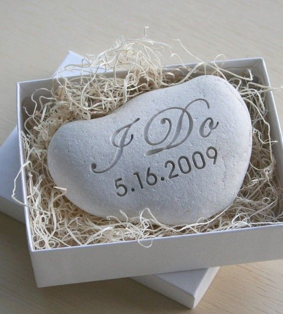 Scottish Wedding Gifts: I DO Custom White Oathing Stone Wedding Vow -Cory & I