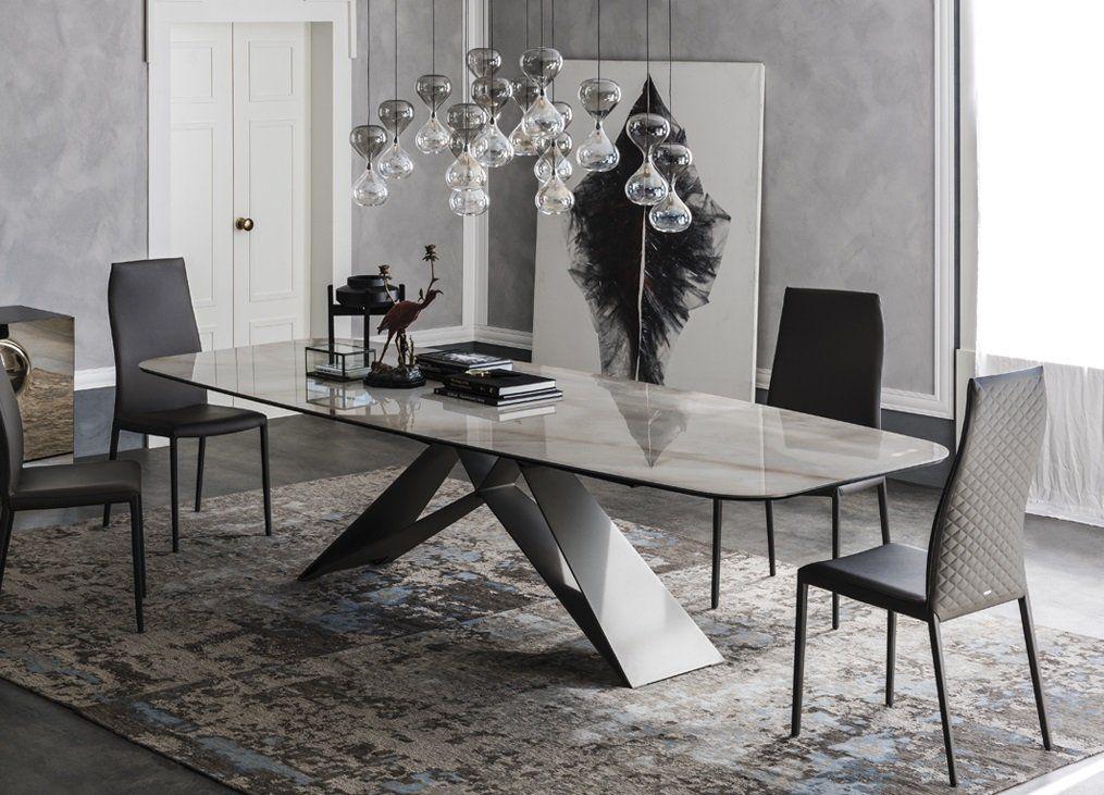 Cattelan Italia Premier Keramik Dining Table Metal Living Room Furniture Ultra Modern Dining Table Marble Faux Marble Dining Table Marble Dining