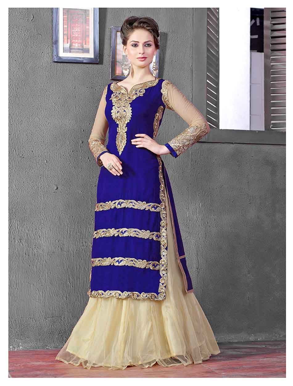 THANKAR LATEST DESIGNER HEAVY BLUE AND CREAM EMBROIDERY INDO WESTERN STYLE STRAITE SUIT