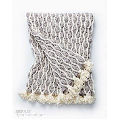 Trellis & Tassels Knit Afghan | Yarnspirations | Bernat Blanket ...