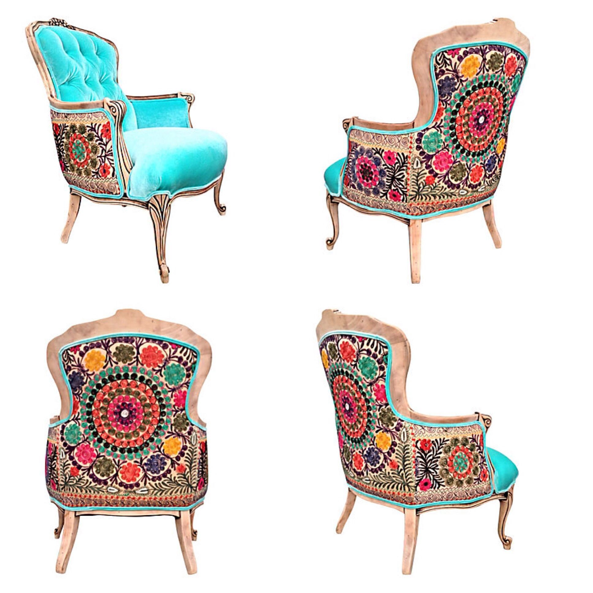 vintage french style berger chair aqua velvet upholstery hand embroidery uzbek c chairs. Black Bedroom Furniture Sets. Home Design Ideas