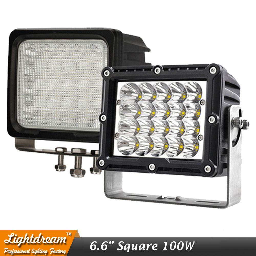 100w Square Led Driving Work Spot Lights 12v 24v Ip67 Off Road Car Truck Headlights White 6000k Led Heavy Duty Work Light X Driving Work Car Lights Cars Trucks