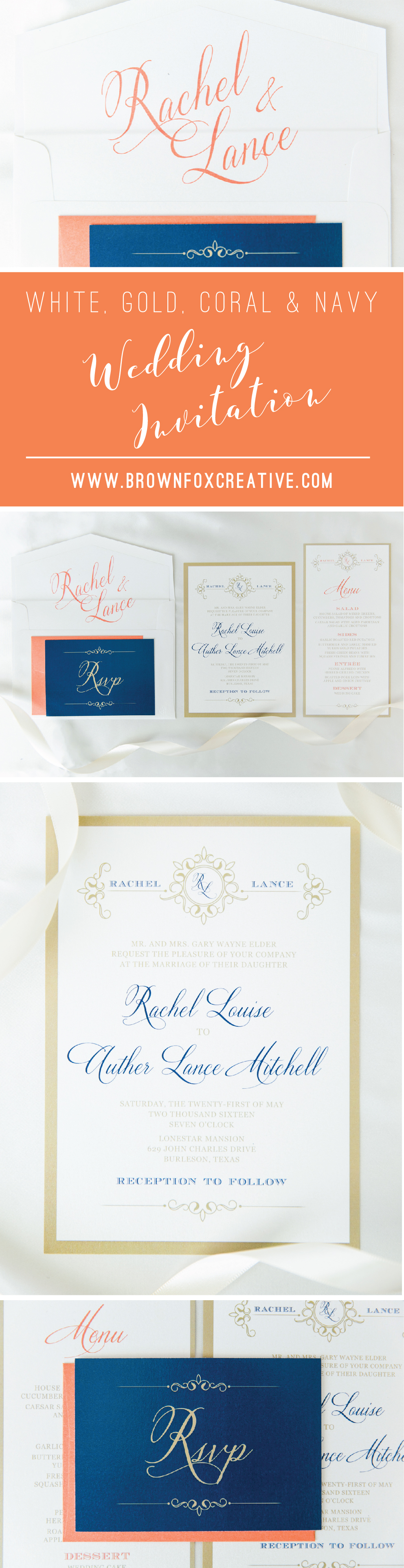 Gold color cardstock paper 5x7 - 5x7 Gold White Coral Navy Wedding Invitation Suite With Details Insert Rsvp And Envelope Liner Different Colors Available