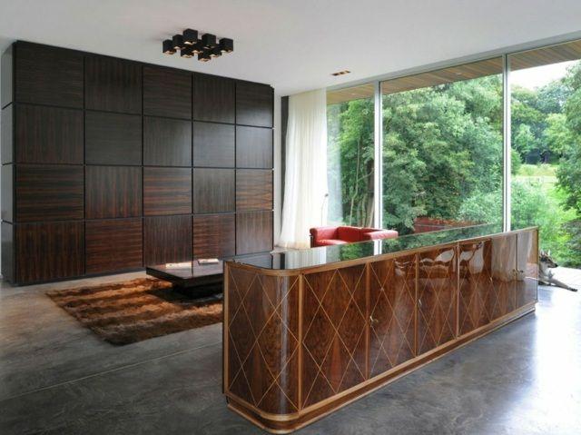Holz Le Design architektenhaus inneneinrichtung holz wandpaneele teppich guitar