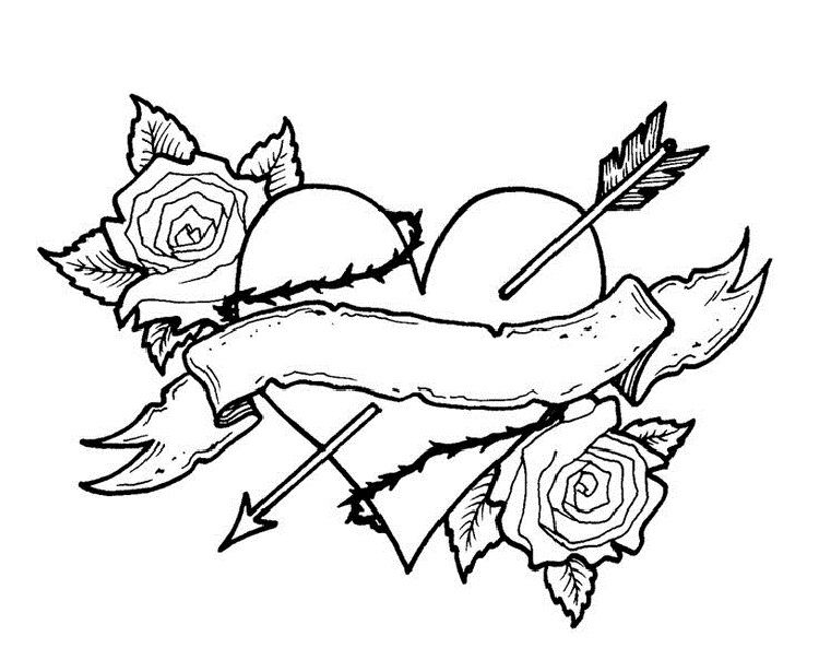 Rose and Heart Coloring Pages to print | coloring | Heart ...