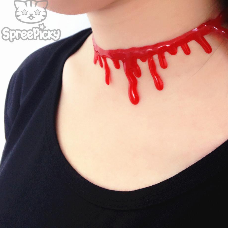 Blood moon dangle tattoo choker