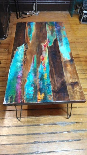 painted coffee table. Abstract art on distressed wood