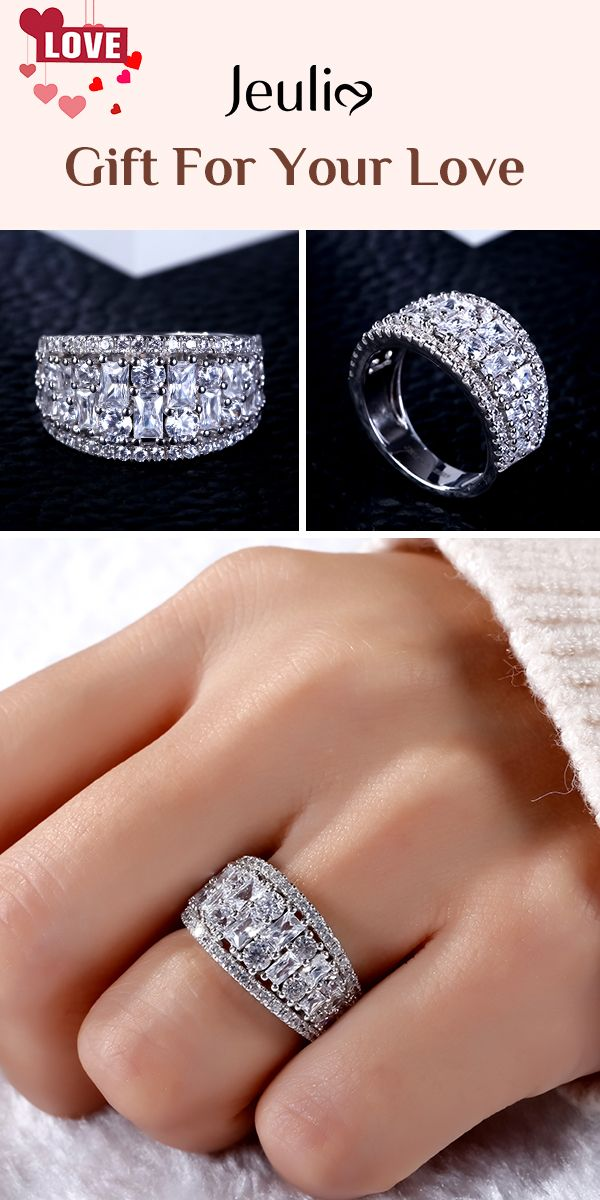 Check This Out From Jeulia Jeulia Wide Shank Sterling Silver Women S Band In 2020 Thick Diamond Wedding Band Diamond Wedding Bands Wide Diamond Wedding Bands