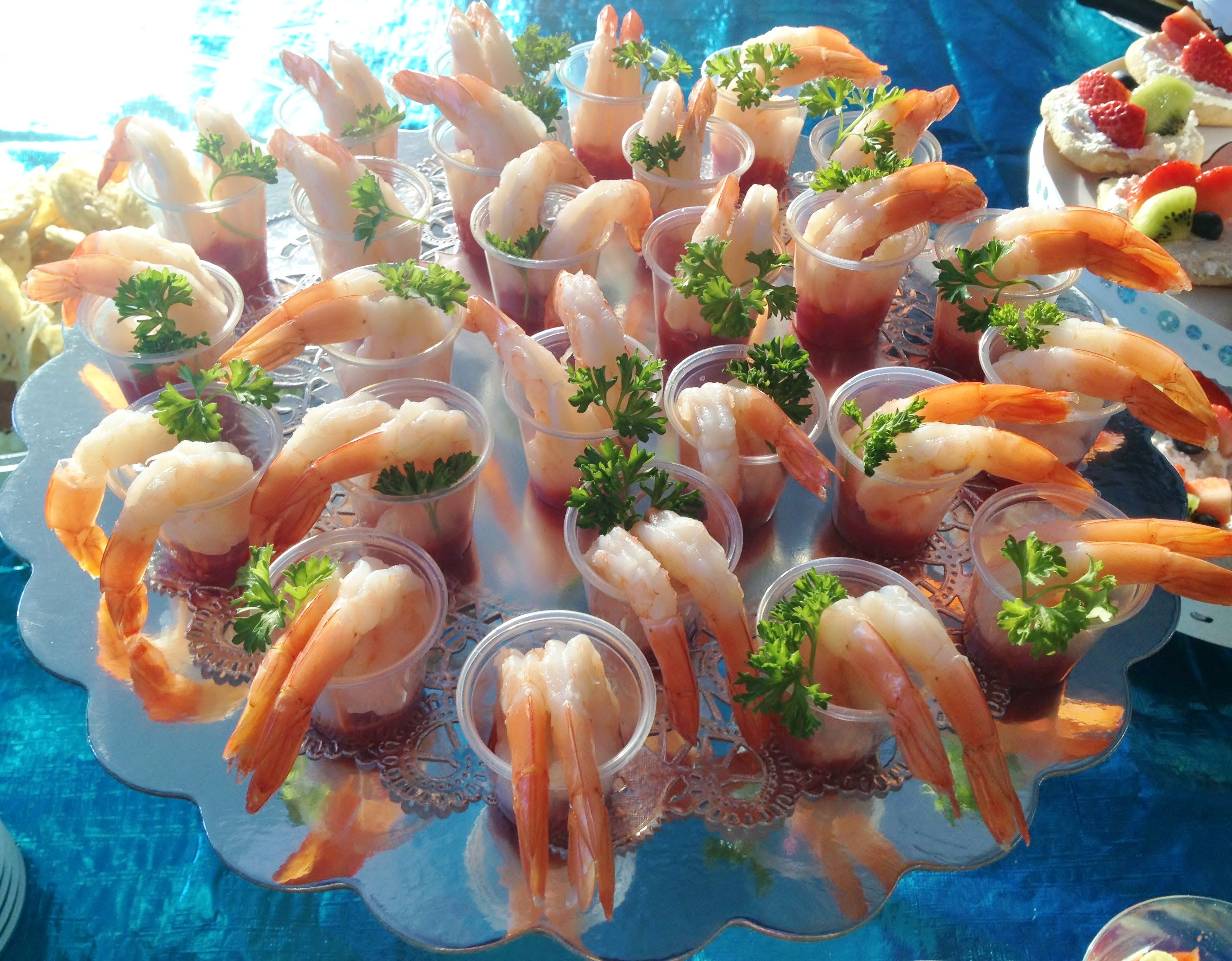 Shrimp cocktail shots food at the baby shower It s always a