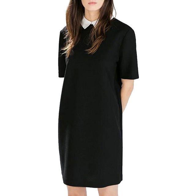Women black white office Dress cute peter pan collar short sleeve loose casual Vestido feminina Europen style dress QZ2204