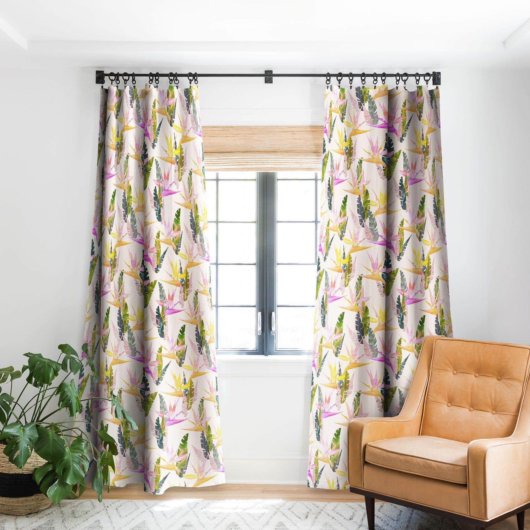 Birdie Tropical Ivory Blackout Window Curtain Schatzi Brown