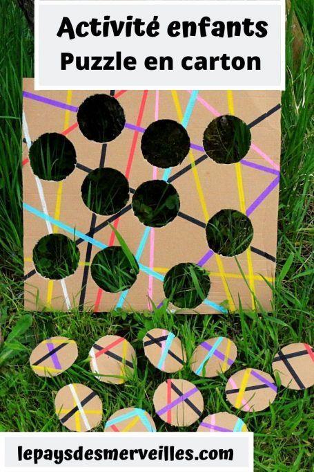 Puzzle en carton avec des cercles et des lignes colorées