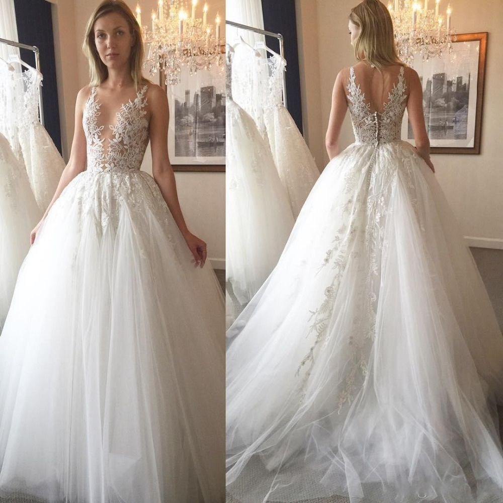 Tank Top Wedding Dresses Best Dresses For Wedding Check More At Http Svesty Com Tank Top Wed Sheer Wedding Dress Open Back Wedding Dress Lace Applique Tops