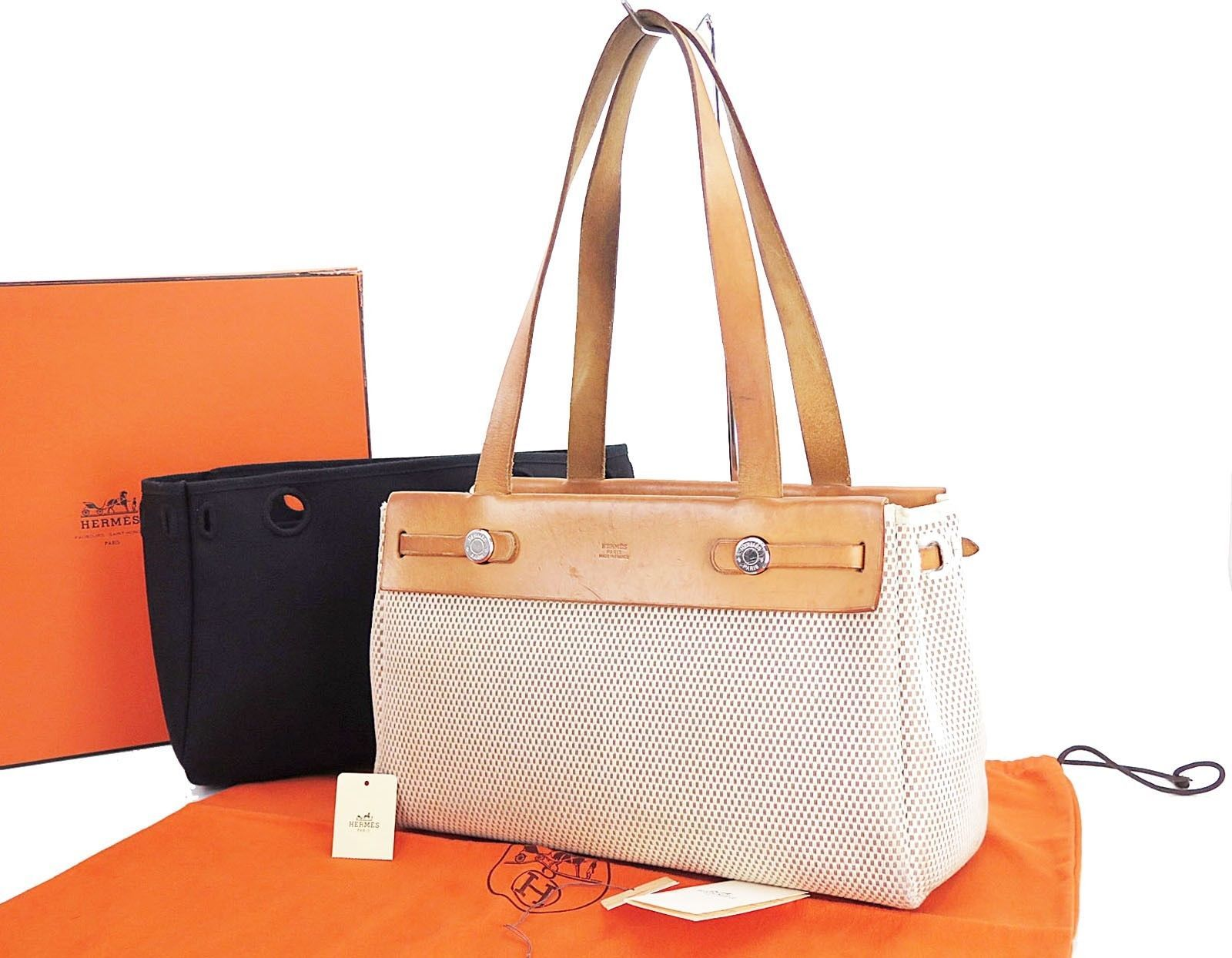 082dd0def0b Auth HERMES Her Bag Cabas PM Beige Black Canvas Shoulder Tote Bag Purse   26117