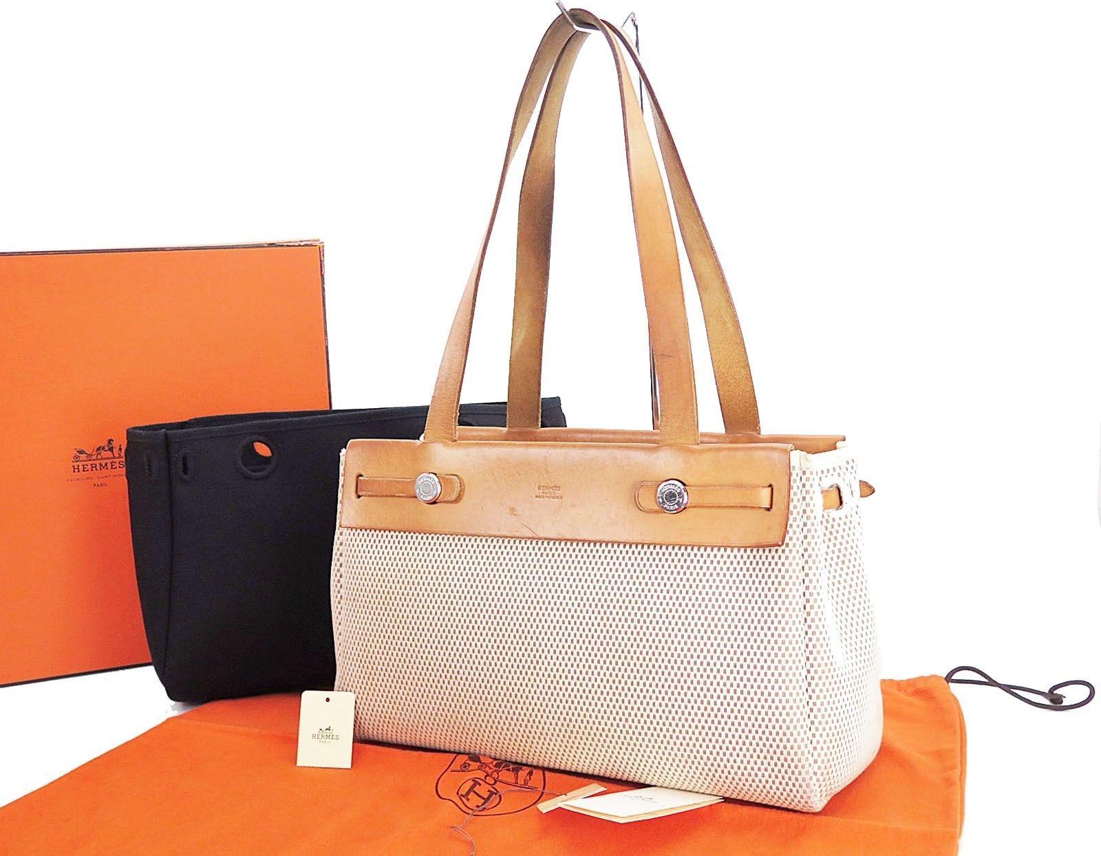 Auth HERMES Her Bag Cabas PM Beige Black Canvas Shoulder Tote Bag Purse   26117 d64a296499