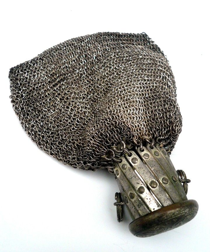 Early 1900 S Reticule Silver Chatelaine Mesh Chain Metal