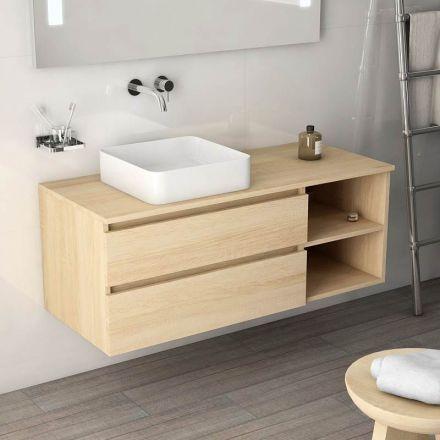 Meuble vasque de salle de bain Terra finition chêne clair 2 tiroirs - Meuble De Salle De Bain Sans Vasque