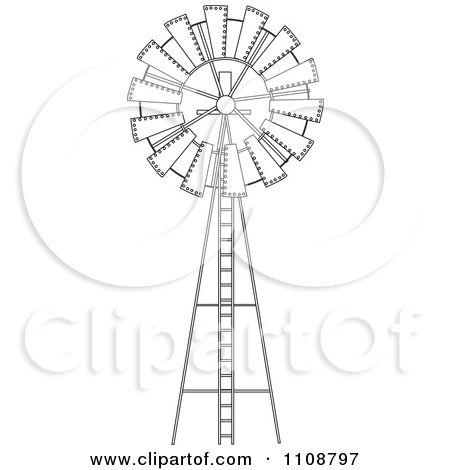 how to draw a farm windmill