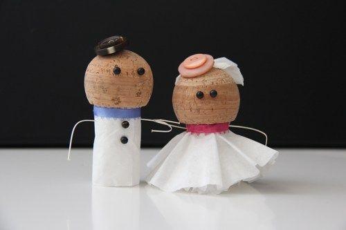 Cake Art Cork : Handmade Cork Bride & Groom Cake Topper viennahandcraft ...