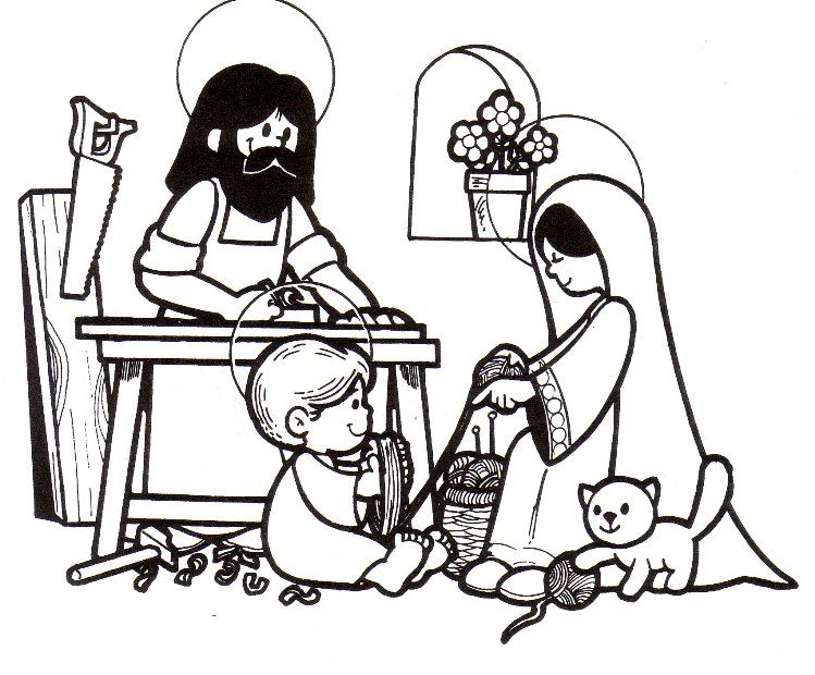 Holy Family At Nazareth Catholic Coloring Page For Children I Love How Jesus Is Helping