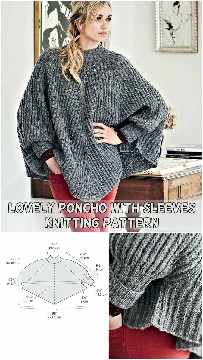 Lovely Poncho with sleeves knitting pattern