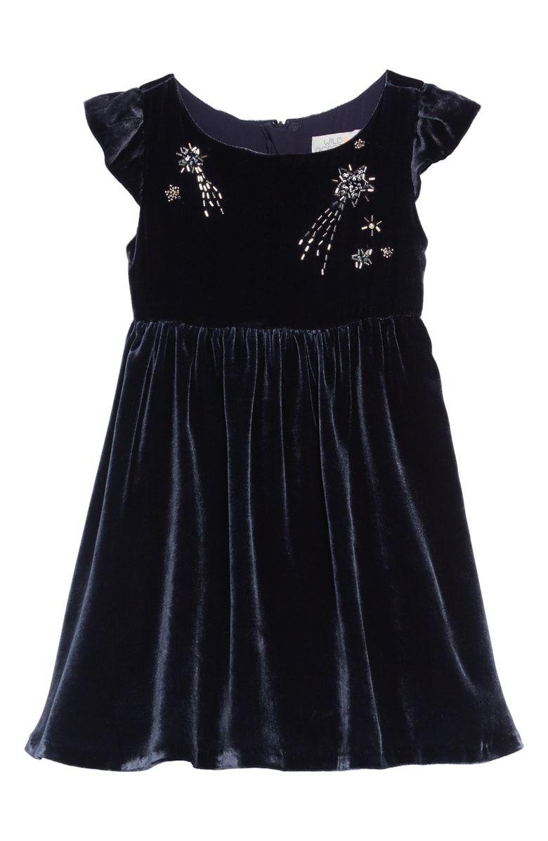 87cf953f043 Free shipping and returns on WILD  amp  GORGEOUS Velvet Beaded Dress  (Toddler Girls