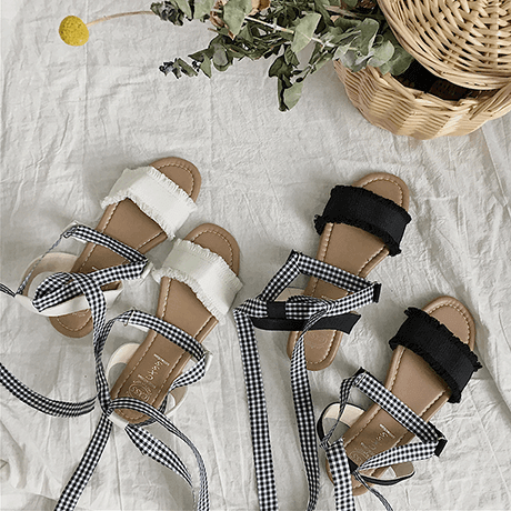 7cccfdc48 itGirl Shop CHECKERED ANKLE STRAPS SUMMER OPEN SANDALS Aesthetic Apparel