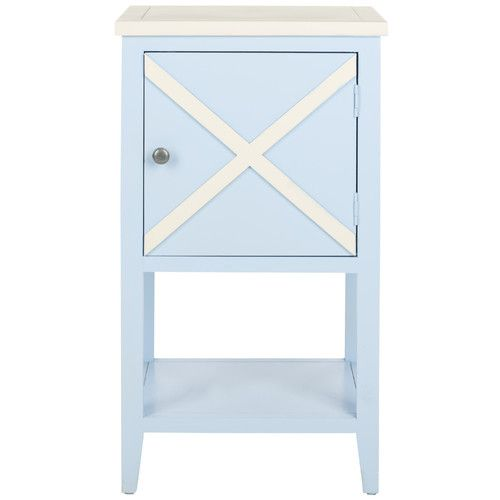 Best Olney 1 Drawer Nightstand Blue Painted Furniture White 400 x 300